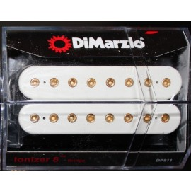 DiMarzio Ionizer 8-String Bridge Pickup DP811 White w/ Gold Poles