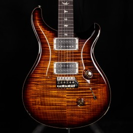 PRS Custom 24 Black Gold Burst, 10 Top Flame, Natural Binding (Experience 2018)