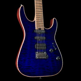 Charvel USA Select DK24 HSS 2PT CM QM Blue Burst w/ Carmelized Maple Fingerboard