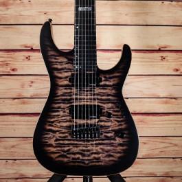 ESP USA M-7 Hardtail See-Thru Black Burst Satin AAAA Quilt Maple Top w/ Lundgren B7 Pickups
