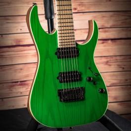 """Ibanez RGR5227MFX Prestige 7-String Transparent Fluorescent Green (2019 Model with Bare Knuckle """"Brute Force"""" Pickups)"""