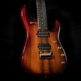 Music Man John Petrucci JP7 BFR Koa 7-String (Koa Island Burst, Gold Hardware)