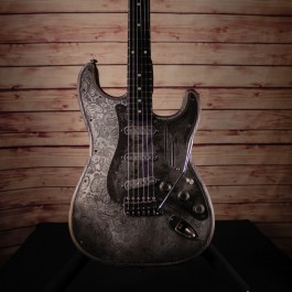James Trussart Steel O Matic Antique Silver Paisley (Ebony Fingerboard, Reverse Headstock, Chambered)