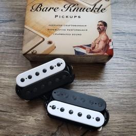 Bare Knuckle Nailbomb 6-String Calibrated Pickup Set (Black/White Zebra, Black Screws, Matte Bobbins)