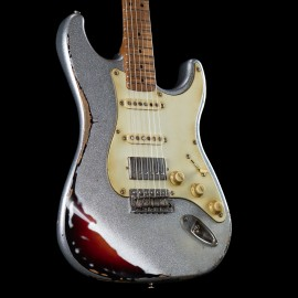 LSL Custom Shop Saticoy Classic S Heavy Relic Silver Sparkle / 3TB Double Finish w/ Roasted Flame Maple Neck