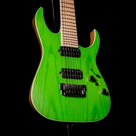 "Ibanez RGR5227MFX Prestige 7-String Transparent Fluorescent Green (2020 Model with Bare Knuckle ""Brute Force"" Pickups)"