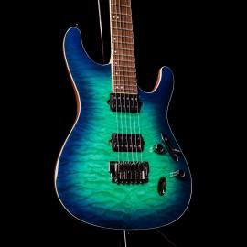 Ibanez Prestige S6521Q Surreal Blue Burst (SLG) Quilt 6-String Guitar