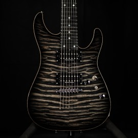 Schecter Custom Shop Sunset 7-String (AAAAA Quilt, Trans Black, Ebony Fingerboard)