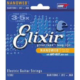 Elixir Nanoweb Coated Guitar Strings Baritone 12-68