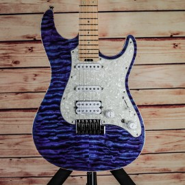 ESP Custom Shop Snapper CTM QM Indigo Purple w/ Maple Fingerboard