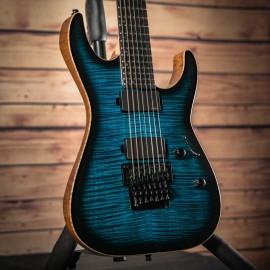 ESP USA M-7 FR Black Aqua, AAAA Flame Maple Top, Ebony Fingerboard (2019 NAMM Exhibition Guitar)
