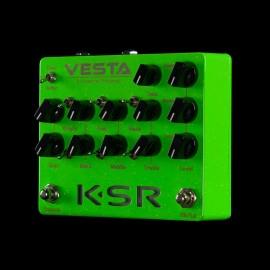 KSR Vesta 3-Channel Preamp Pedal - Slime Green Sparkle