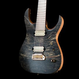 Mayones Duvell Elite 7-String Baritone Master Grade Buckeye Burl Top w/ Maple Fingerboard, Hipshot Contour Tremolo, and Bare Knuckle Pickups.