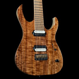 Mayones Duvell Elite 7-String Master Grade Koa Top w/ Birdsye Maple Fingerboard, Black Limba Body, and Bare Knuckle Pickups.