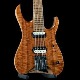 Mayones Hydra Elite 7-String Master Grade Koa Top w/ Birdsye Maple Fingerboard, Mahogany Body, and Bare Knuckle Pickups.