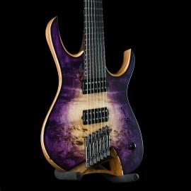 Mayones Hydra Elite VF 7-String Multi-Scale - Purple Natural Fade, Poplar Burl Top, Bare Knuckle Nailbomb/VH2 Pickups.