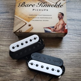 Bare Knuckle Nailbomb 6-String Calibrated Pickup Set (Black/White Zebra, Black Screws, Matte Bobbins)