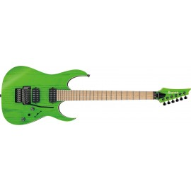 "Ibanez RGR5220M Prestige 6-String Transparent Fluorescent Green (2019 Model with Bare Knuckle ""Brute Force"" Pickups)"